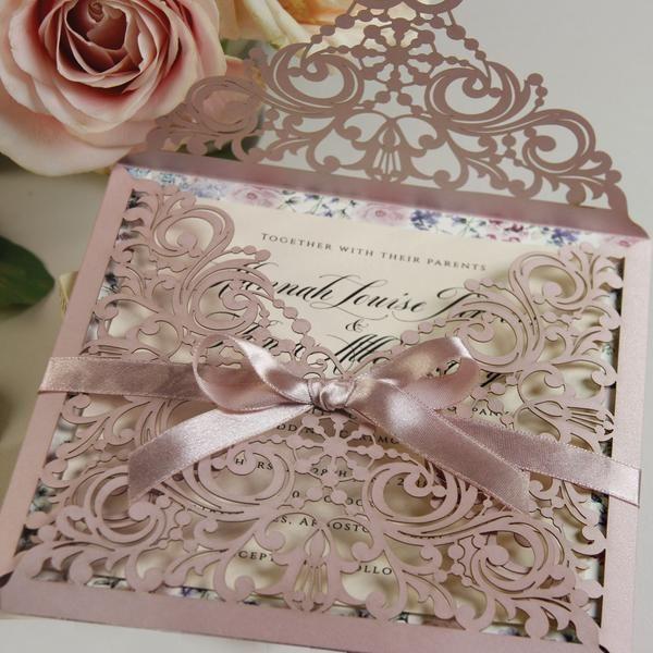 lace misty rose square elegant wedding invitations in 2020