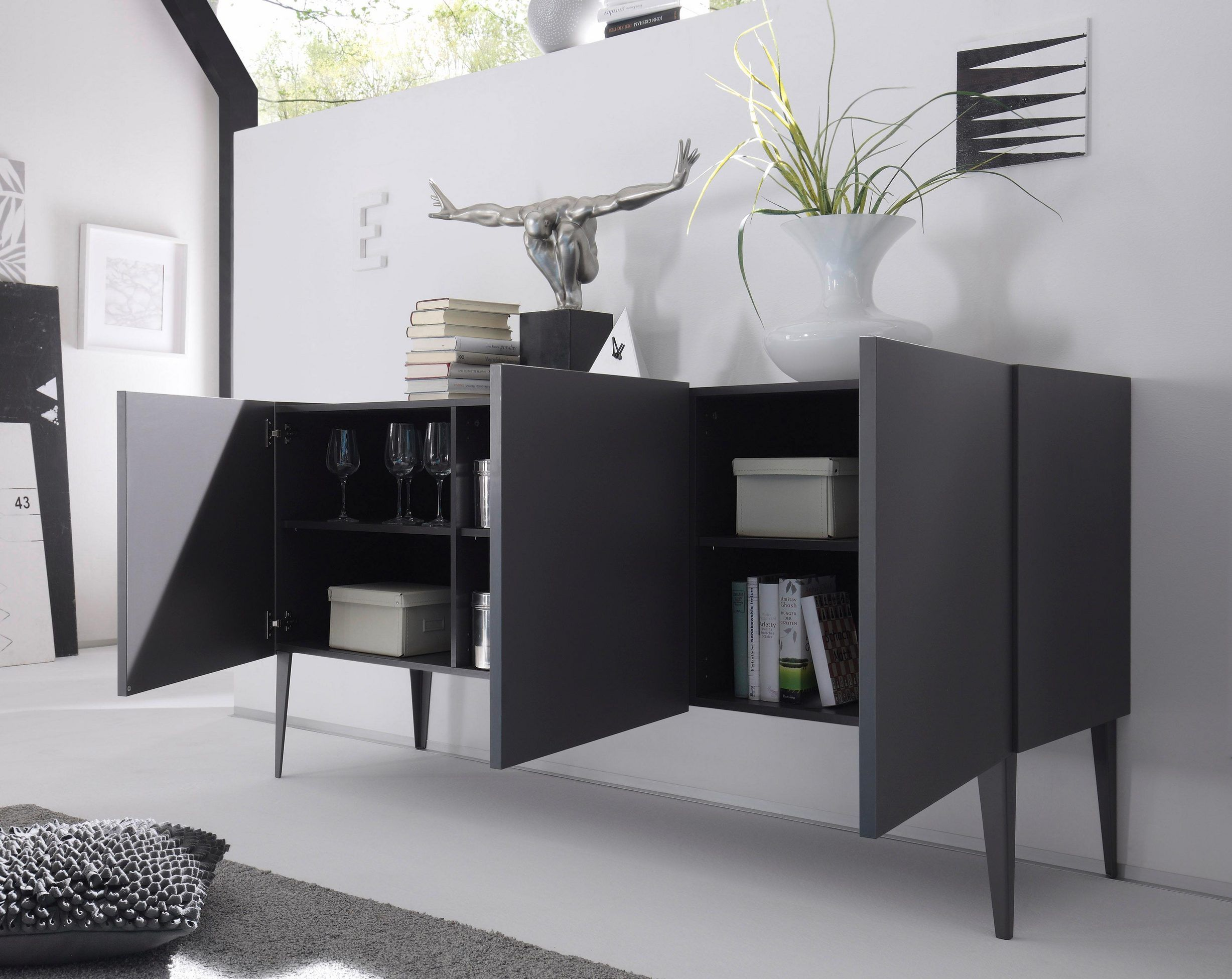 Places Of Style Sideboard Zela 3 Turig Mit Fussen Breite 184