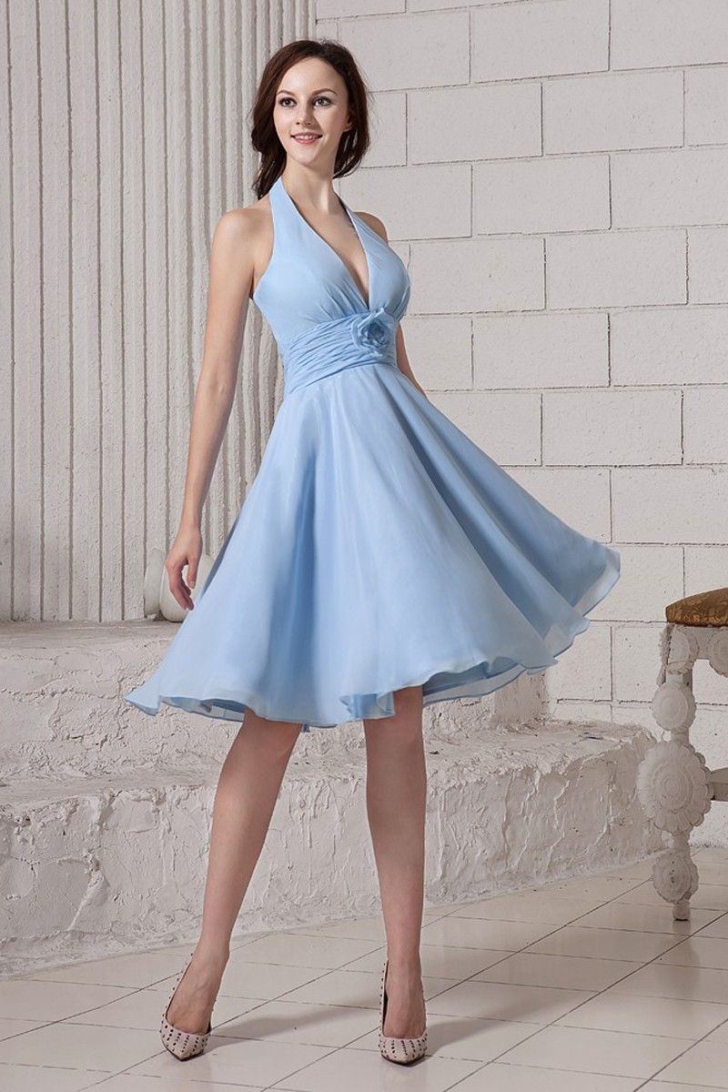 8c5b2ad71d0f Tiffany Blue and Red Wedding. A-Line Halter Light Sky Blue Chiffon  Knee-Length Dress