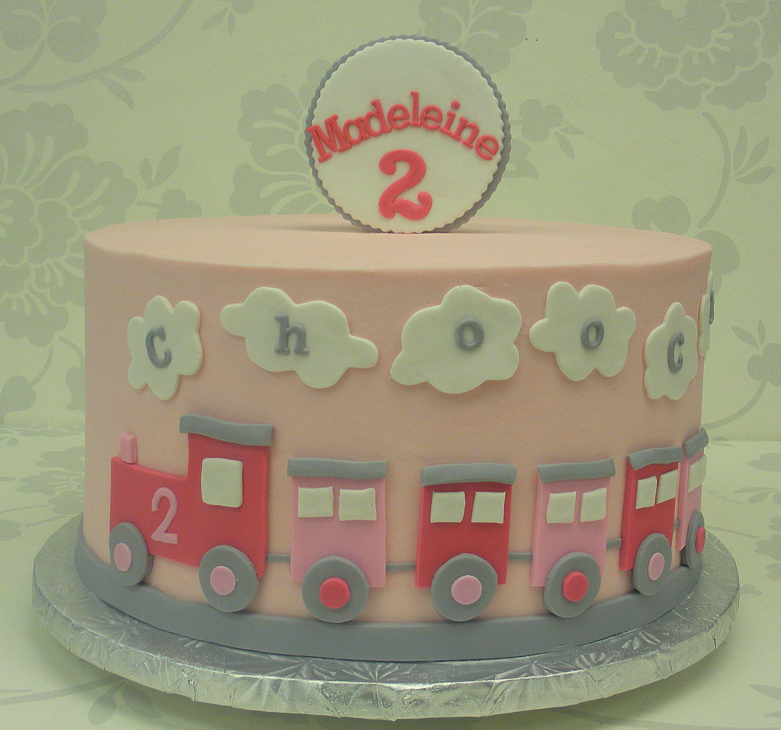 Fine Girly Train Cake Train Birthday Cake 2Nd Birthday Cake Girl Funny Birthday Cards Online Fluifree Goldxyz