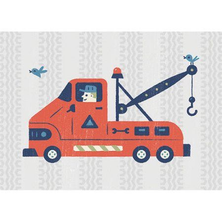 Oopsy Daisy - Little Tow Truck Canvas Wall Art 14x10, Bob Daly