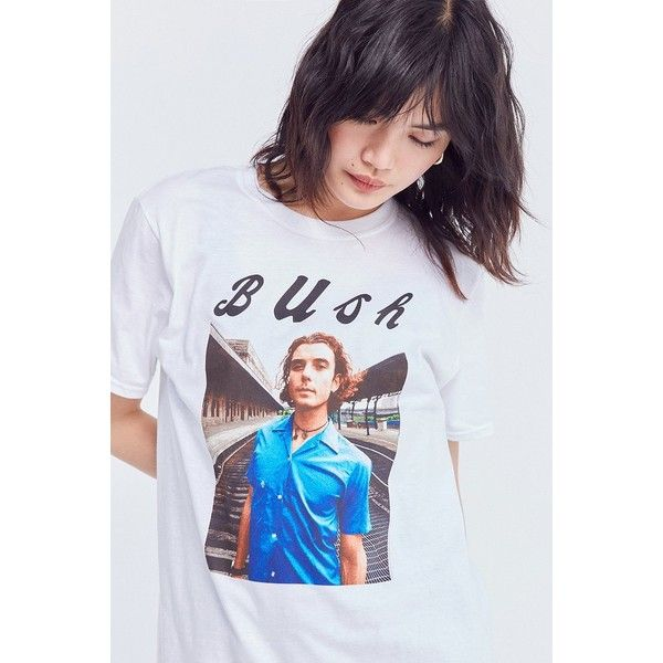 Bush Gavin Rossdale Tee ($34) ❤ liked on Polyvore featuring tops, t-shirts, short sleeve tops, slim fitted t shirts, long line tees, slim fit tees and slim t shirts