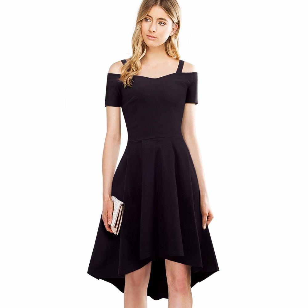 Style Summer Dress Slash Neck Short Sleeves Black Vintage Casual Front Short Long Back Aline Dress Ea044 Party Dresses For Women Classic Black Dress Dresses [ 1000 x 1000 Pixel ]