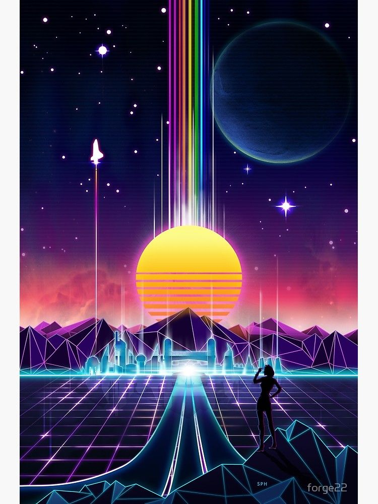 Neon Sunrise Poster By Forge22 Vaporwave Wallpaper Synthwave Art Retro Art