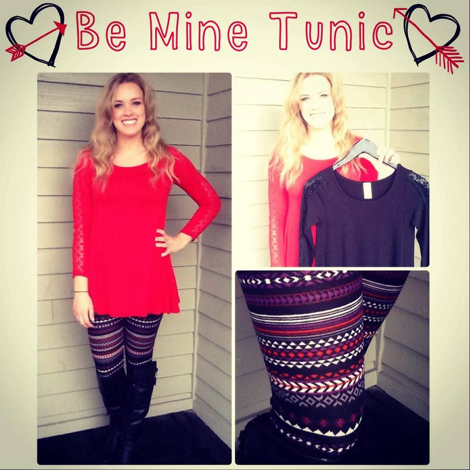 Be mine tunic $35.74! This is such a great tunic to add to your wardrobe! It's basic enough wear with lots, but has detailed lace sleeves for some fun! We paired it with our ladies night leggings $23.74!