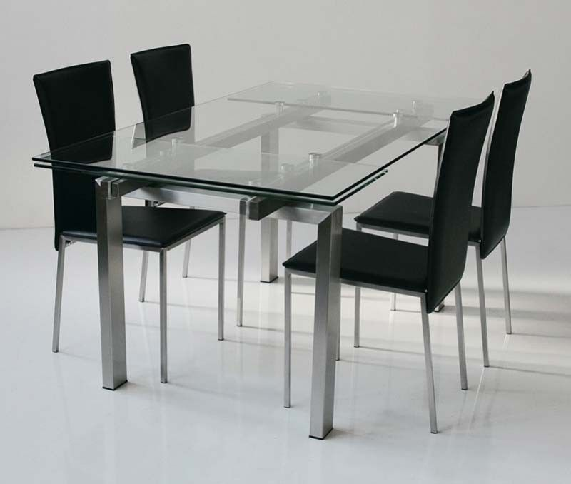 Table de salle manger design en verre miranda avec - Conforama table de salle a manger en verre ...