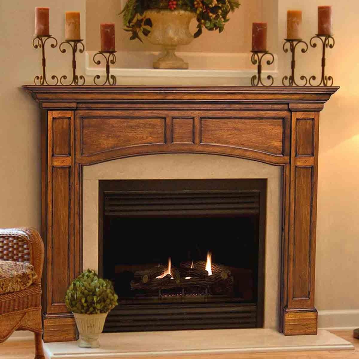 56 Vance Distressed Medium Oak Finished Fireplace Mantel By Pearl Mantels Fireplace Mantel Surrounds Wood Fireplace Surrounds Wood Fireplace Mantel