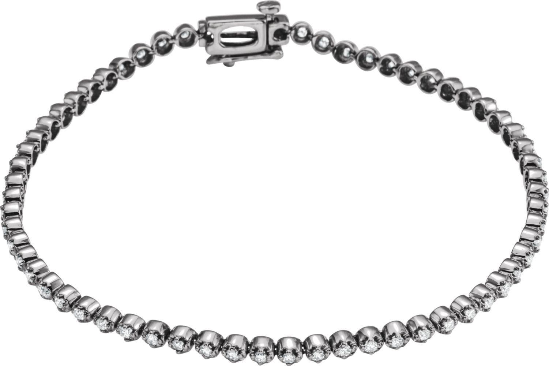 14k White Gold 1 ctw. Diamond Line Bracelet. 100% Satisfaction / 30-day money back guarantee. FREE contemporary Gift Box. Free Shipping.