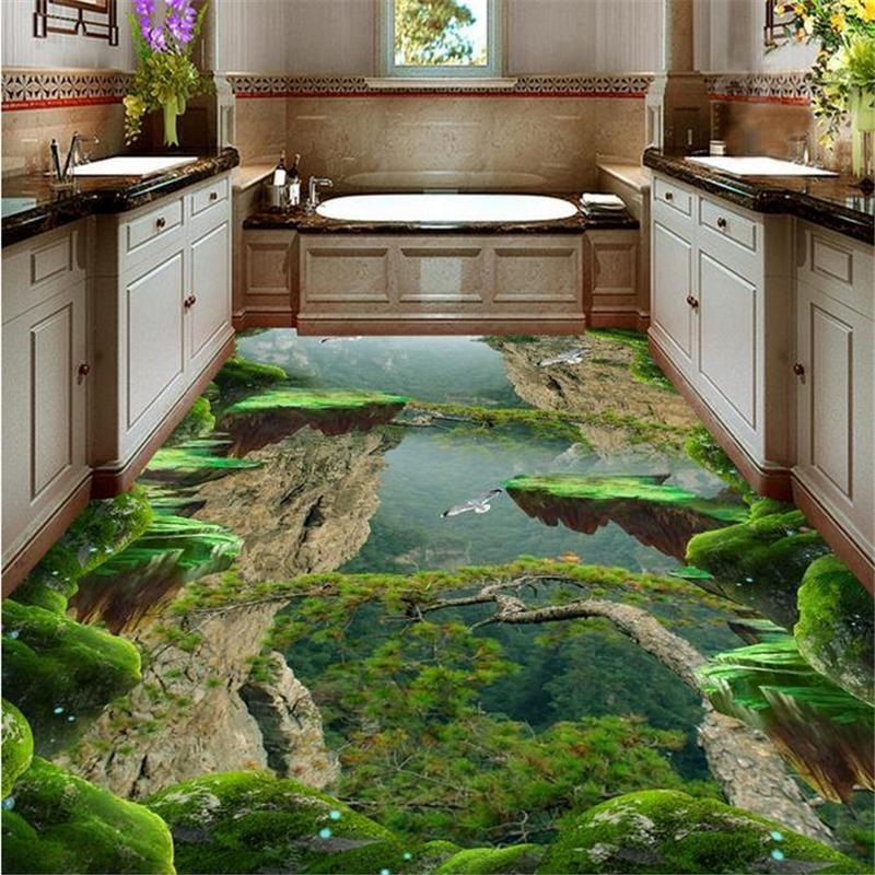 Beibehang Vinyl Flooring Waterproof Custom 3d Floor Wallpaper Forest Valley Vinyl Flooring Bathroom Modern Wallpap Floor Wallpaper Vinyl Flooring Floor Murals