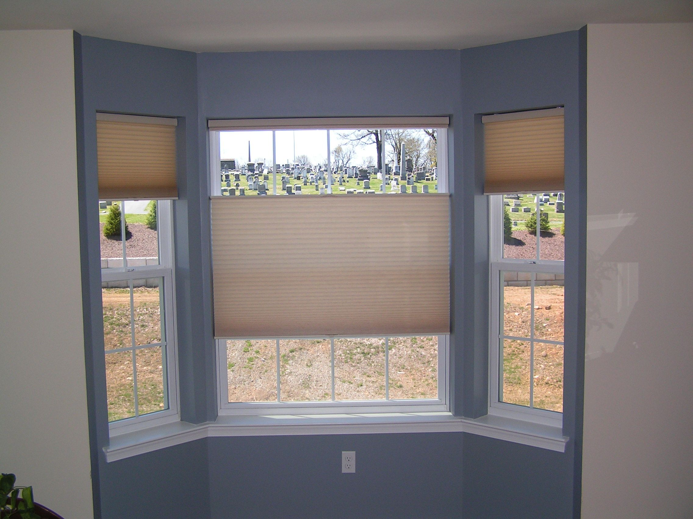 Duettes In A Walk Out Bay Window The Center Shade Is A Top Down Bottom Up Shade Bay Window Blinds Honeycomb Shades Bay Window