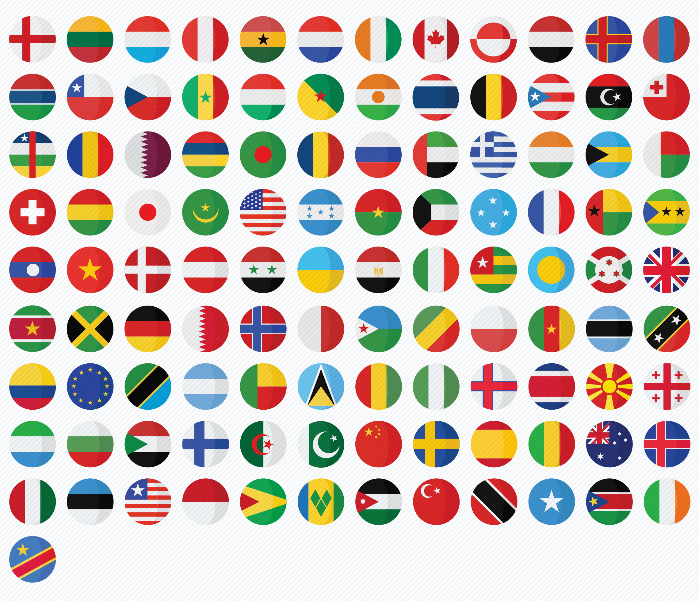 2500 Vector flat round icons Vol 1 Country flags icons