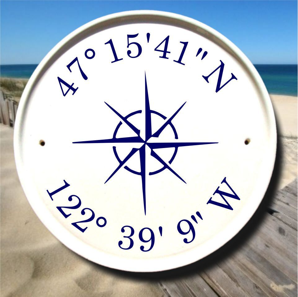 Nautical Compass Coordinates Sign Latitude Longitude Gifts Sailboat Decor Nautical Signs Gps Coordi Coordinates Signs Sailboat Decor Beach House Gift