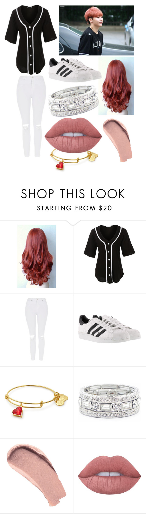 """""""Seungkwan."""" by brib978 ❤ liked on Polyvore featuring LE3NO, Topshop, adidas, Sole Society, Burberry and Lime Crime"""