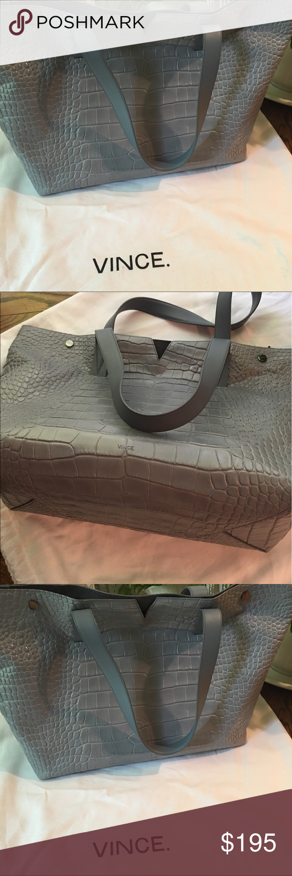 Vince Signature V Crocodile Embossed Tote Bag Vince gray Tote Bag. Perfect condition like new. Shoulder straps 10.2L. Open top with V detail on the side. Snap closure. Vince Bags Totes