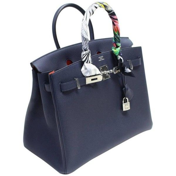 b9bd7dfe81 Hermès Verso 35 cm Birkin Bag- Bleu Nuit and Orange Poppy Togo Leather ❤  liked on Polyvore featuring bags