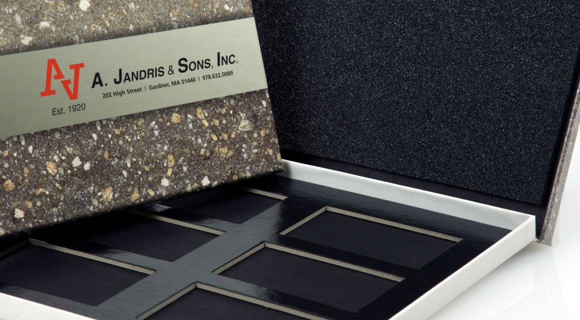 A. Jandris & Sons, Inc. – Masonry - Marketing Kit Box - Hinged Paper Set Up Box - Package Detail#packagingdesign #creativedesign #marketing #marketingdesign #taylorboxcompany