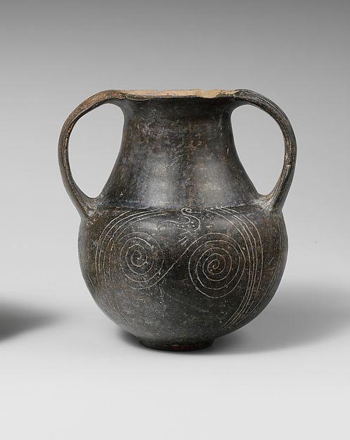 Terracotta spiral amphora (jar)  Period:Archaic Date:ca. 675–650 B.C. Culture:Etruscan Medium:Terracotta; bucchero Dimensions:H. 4 1/4 in. (10.8 cm)
