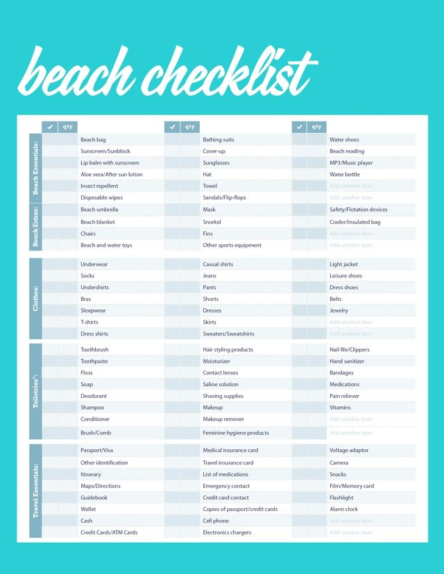 Complete Beach Vacation Packing checklist - vacation checklist