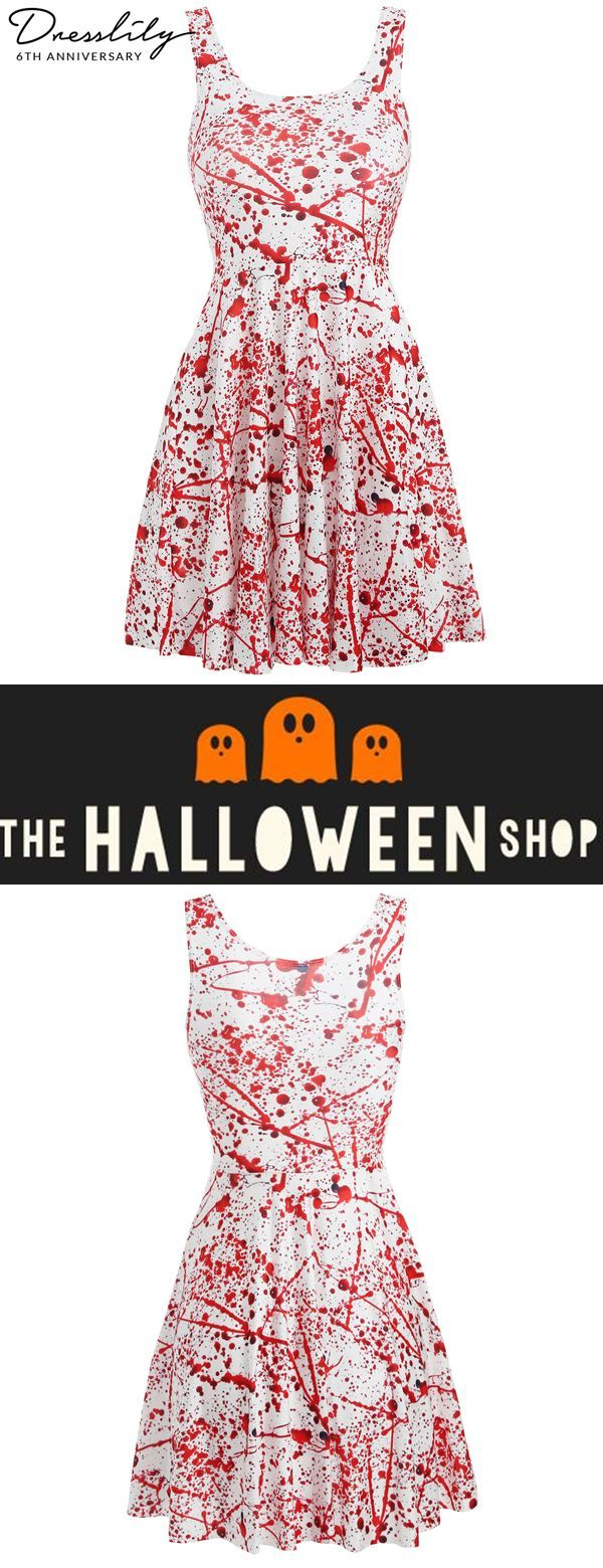 dd0981b696 Free shipping over  39. Halloween Blood Drops Print Skater Dress.  dresslily   halloween