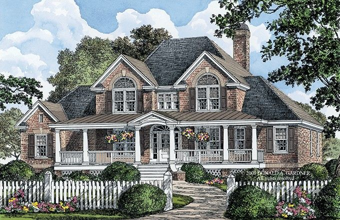 Country Style House Plan 4 Beds 3 5 Baths 3154 Sq Ft Plan 929 36 Brick House Plans Country Style House Plans Country House Plans