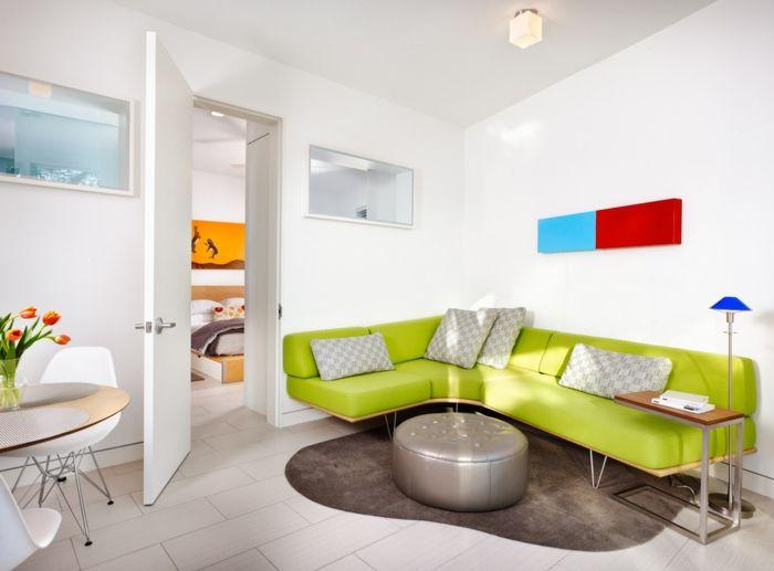 wohnzimmereinrichtung cooles ecksofa grn kleiner raum wohnzimmer ideen grun - Familienwanddekorideen Fr Wohnzimmer