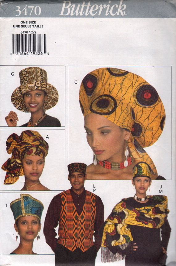 Butterick 3470 Unisex African Fashion Adult Accessories Pattern Hat ...