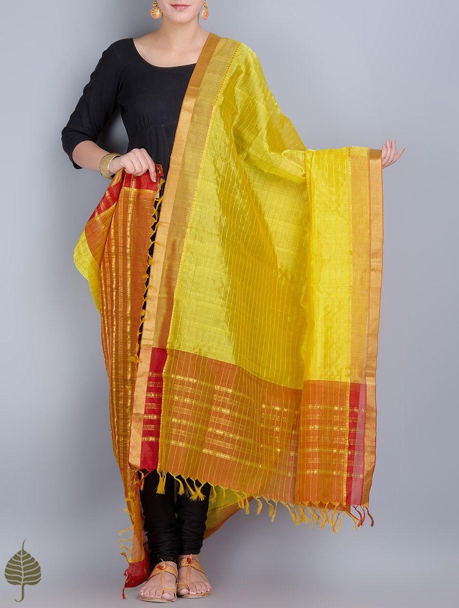 Yellow-Orange Cotton Silk Dupatta with Zari Border by Jaypore on Jaypore.com