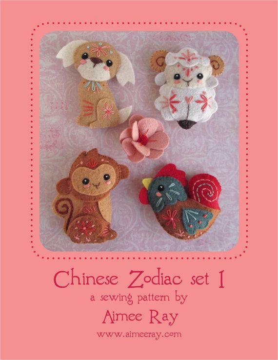 Chinese Zodiac felt animals Plush Sewing Pattern SET 1, PDF download ...