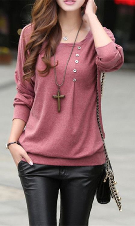 Casual Style Scoop Neck Long Batwing Sleeve Loose-Fitting Solid Color  Women's T-Shirt | Casual styles, Scoop neck and Clothes