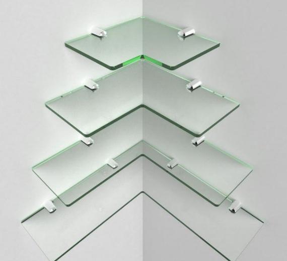 Glass Acrylic corner shelf with chrome fittings modern shelves round Cascading