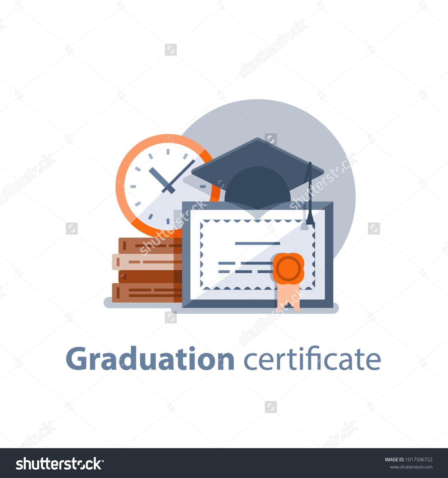 Education Concept, Graduation Hat, Diploma And Clock