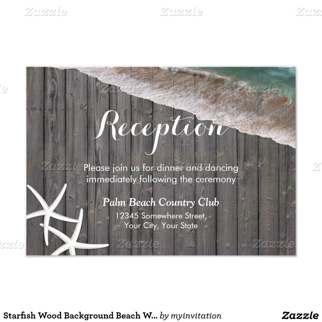 Starfish Wood Background Beach Wedding Reception Card | Wood ...