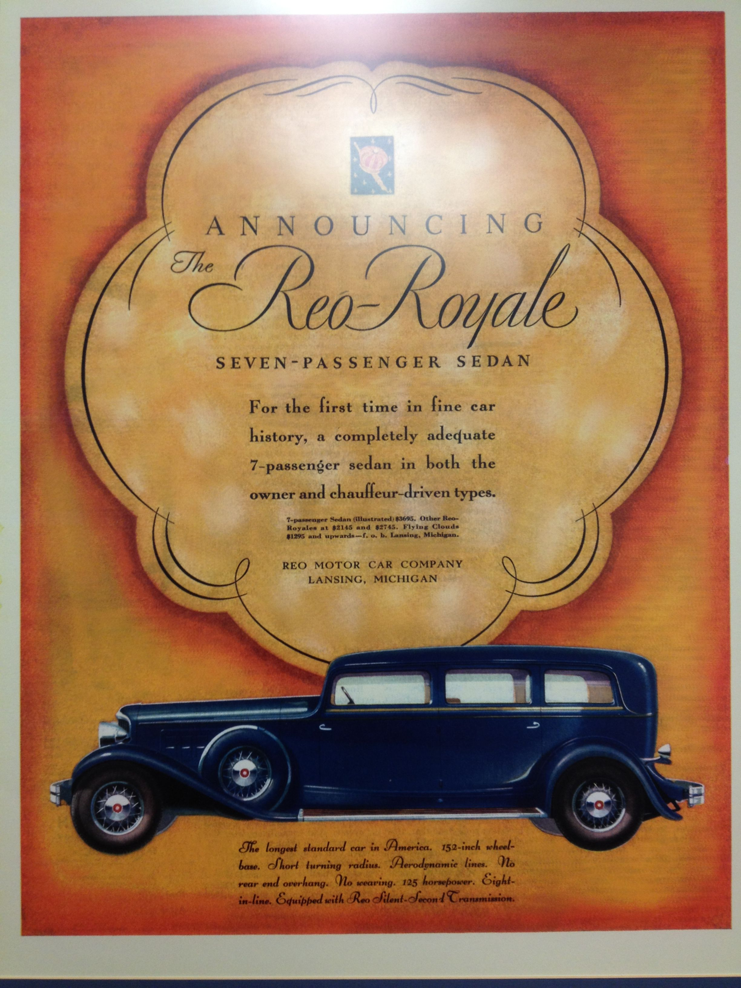 Reo-Royale 7 Passenger Sedan - Beautiful vintage auto ad at the ...