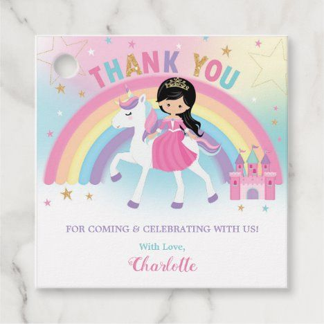 Princess and Unicorn Birthday Party Thank You Favor Tags #UniqueGiftsIdeas #BirthdayGiftsUnique #PersonalizeGifts #ShopCustomizables