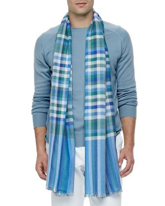 Plaid Cashmere/Silk Scarf, Multi  by Loro Piana at Neiman Marcus.