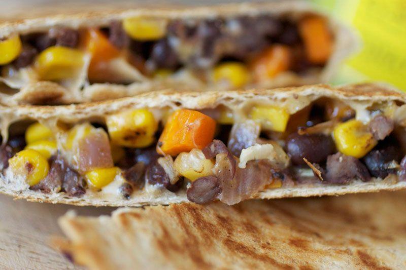 black bean and veggie quesadillas