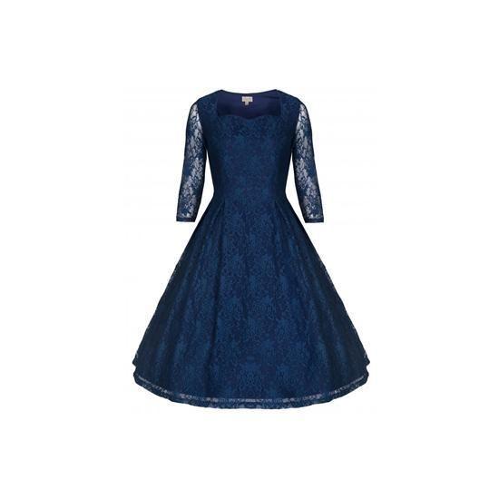 Retro šaty Lindy Bop Lisette Blue Šaty ve stylu 50. let. Krásné společenské  šaty 86552b90a2
