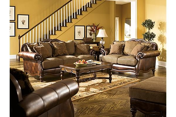 Claremore Antique Living Room Set By Ashley   Delivered Right To Your Home  From Coleman Furniture With No Additional Shipping Charges.