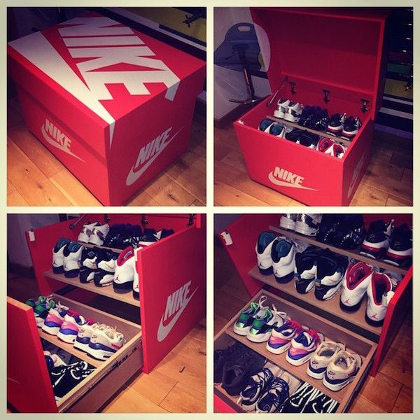 Not Content With Using Normal Shelves To Store His Collection Of Sneakers Uk Based Designer Woodist Made His Own Custo Sneakers Box Custom Nike Shoes Shoe Box