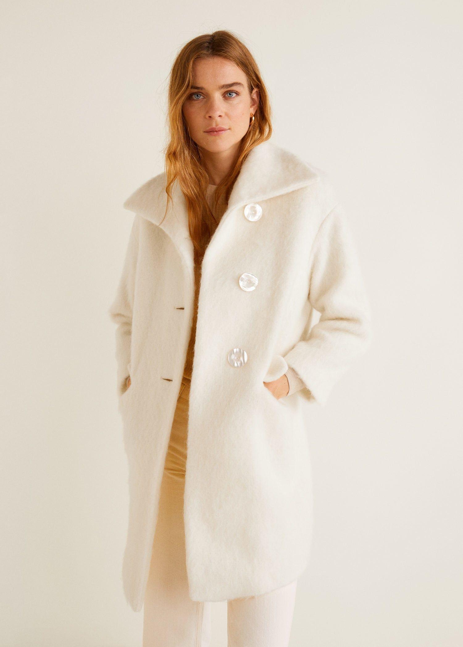 manteau ecru femme fourrure