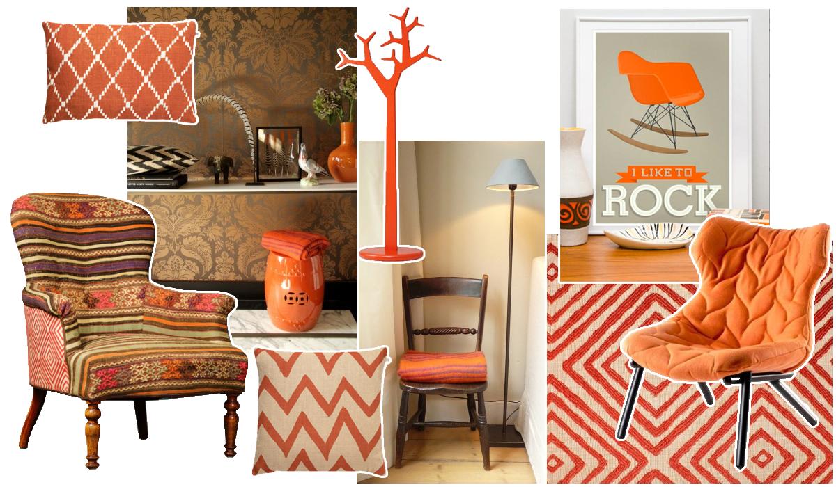 Een moodboard met oranje woonaccessoires en meubels for Bruin grijs interieur