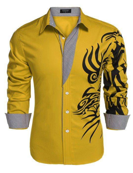 1e0cf4de76d0 Coofandy Men's Fashion Print Dress Shirt Casual Cotton Button Down Shirts  (Small, Gold)