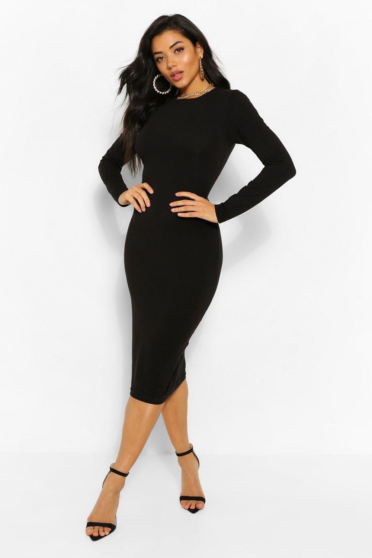 Long Sleeve Crew Neck Midi Bodycon Dress Boohoo Midi Dress Bodycon Black Bodycon Dress Long Sleeve Black Bodycon Dress [ 1500 x 1000 Pixel ]