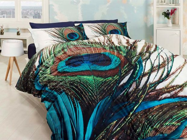 Superbe 3D %100 Cotton Blue And Green Unique Bedding Set With Peacock Feather Design