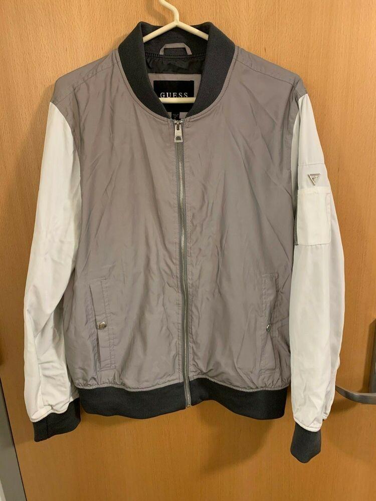 715d669c8 NEW Mens GUESS Medium Reflective White and Gray Bomber Jacket org ...