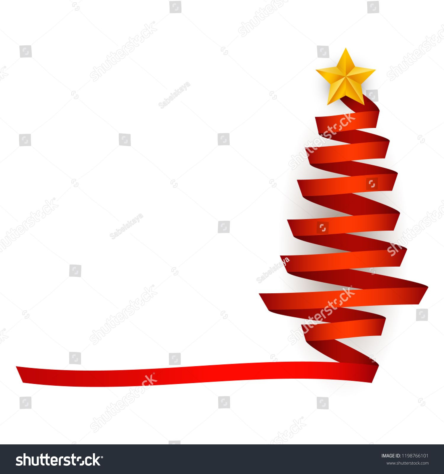 Vector Flat Red Ribbon Christmas Tree With Golden Star At Top Traditional Winter Holiday Merry Christmas And Happy New Year New Years Decorations Red Ribbon