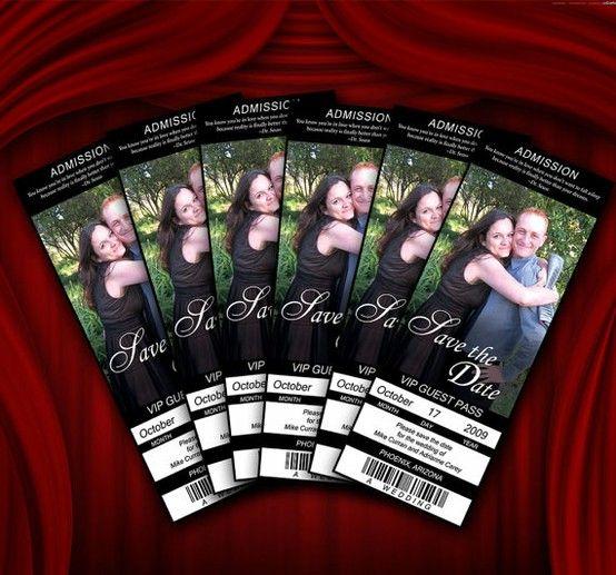 Movie Ticket Save The Date Wedding Invitation By CottontailPress |  Weddingsabeautiful