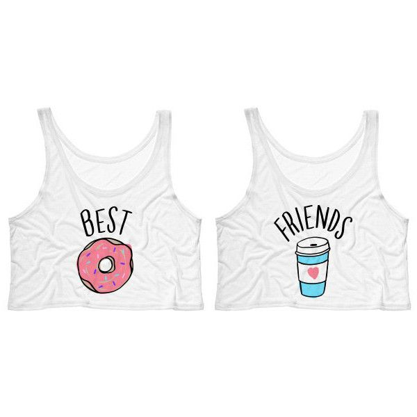 ce36c827d29 Best Friends Donut and Coffee Duo Crop Tank Top Shirt for Best Friend...  ($15) ❤ liked on Polyvore featuring tops, shirts, crop top, tanks, white,  women's ...