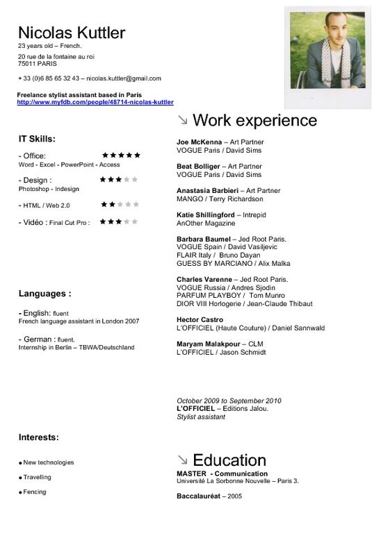 fashion stylist resume
