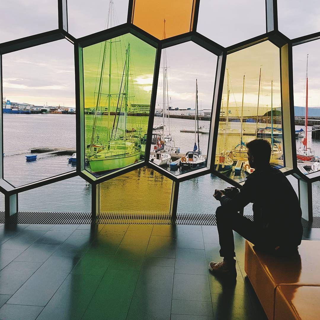 Enjoying The Evening Sun In Harpa Helloreykjavik Iceland Reykjavik Harpa Iceland Reykjavik Reykjavik Iceland Bucket List